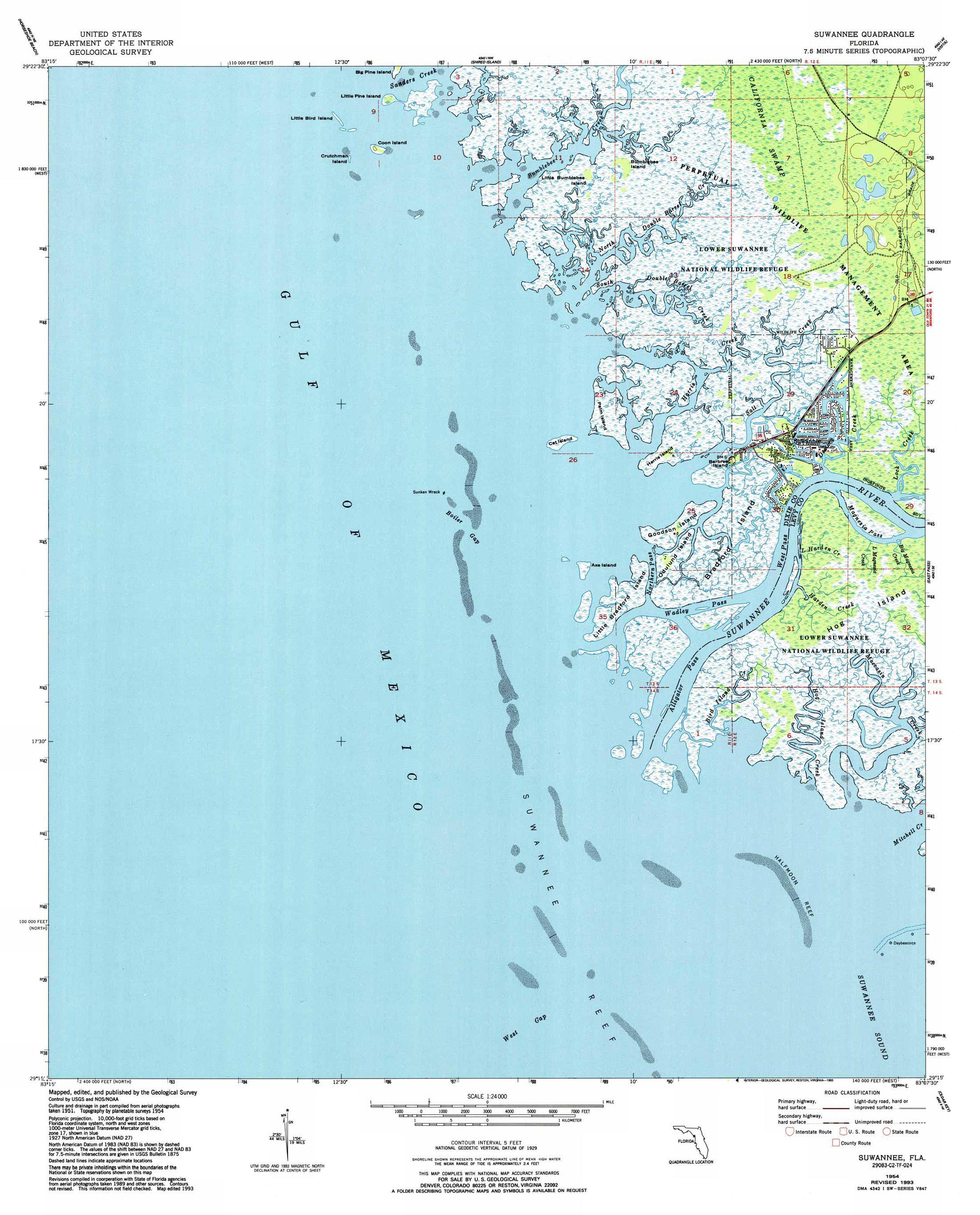 Fishing In Suwannee Florida - Florida quad map